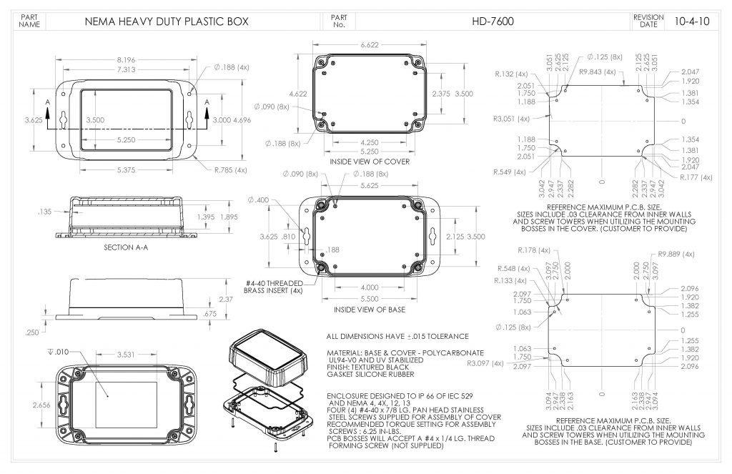HD-7600 Dimensions