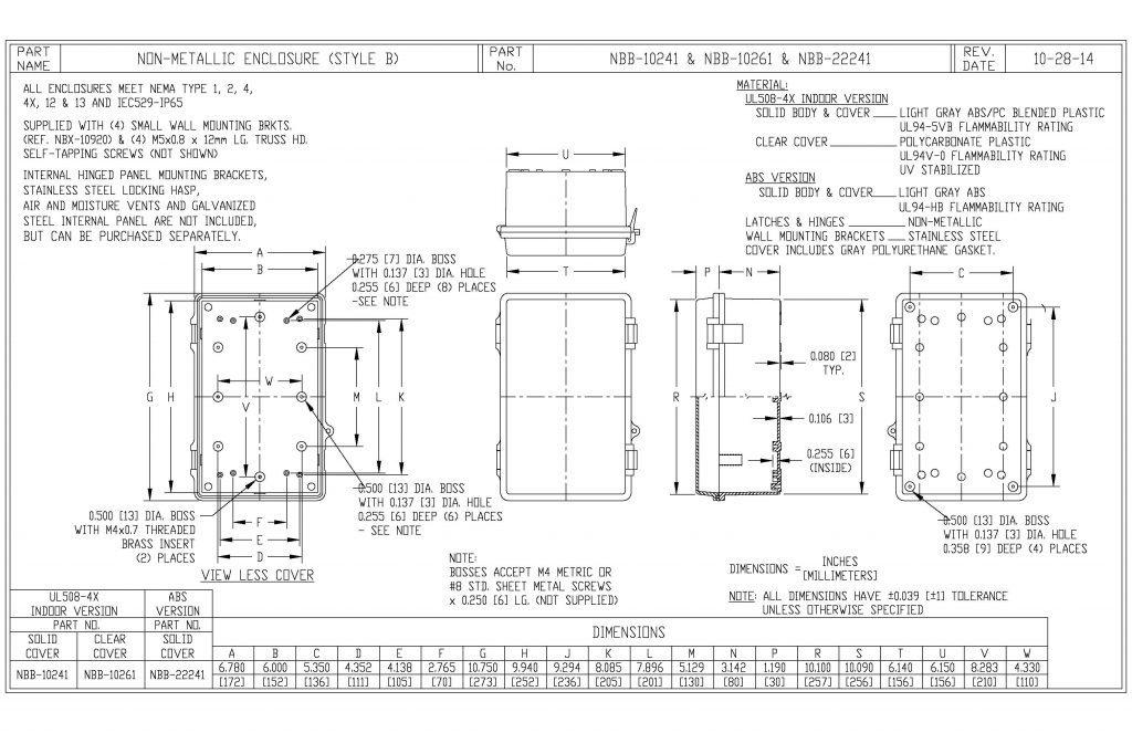 NBB-10261 Dimensions