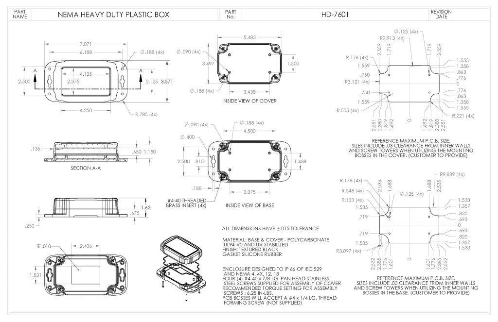 HD-7601 Dimensions