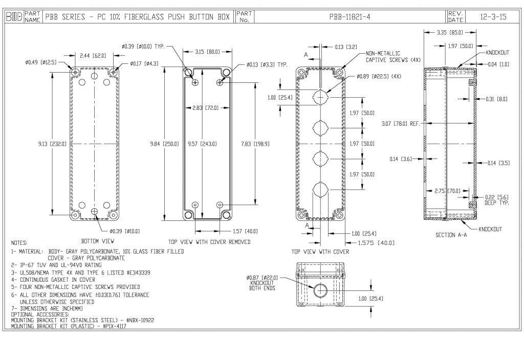 PBB-11821-4 Dimensions