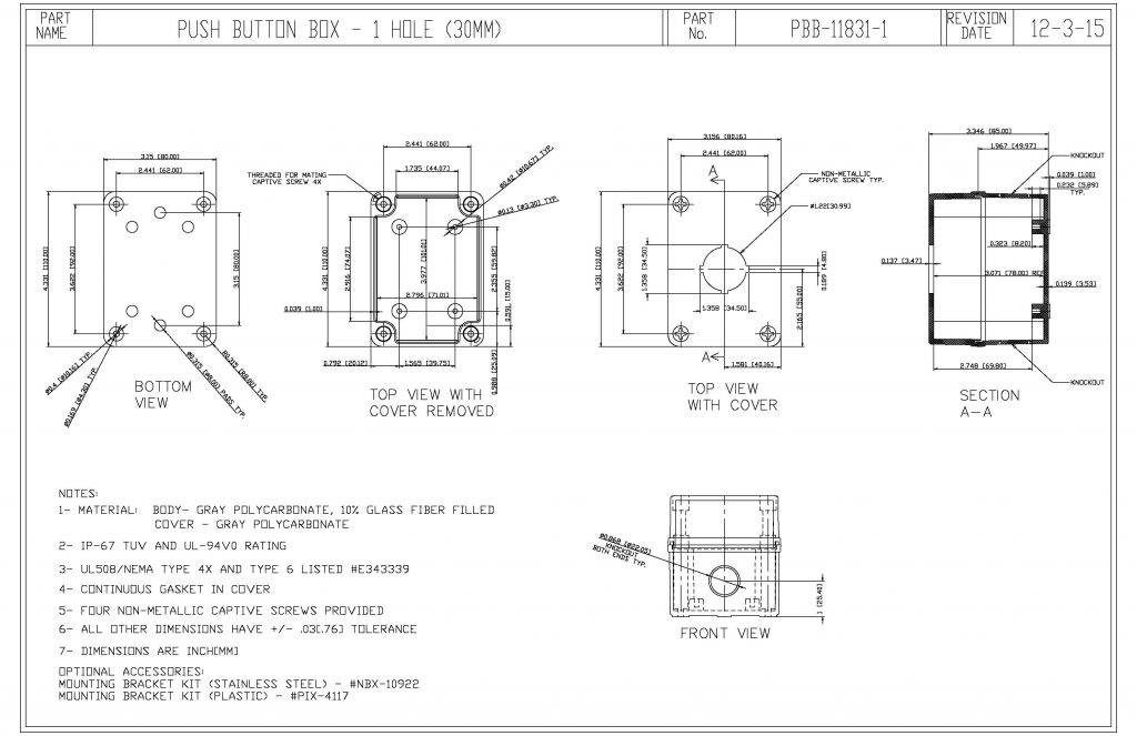 PBB-11831-1 Dimensions