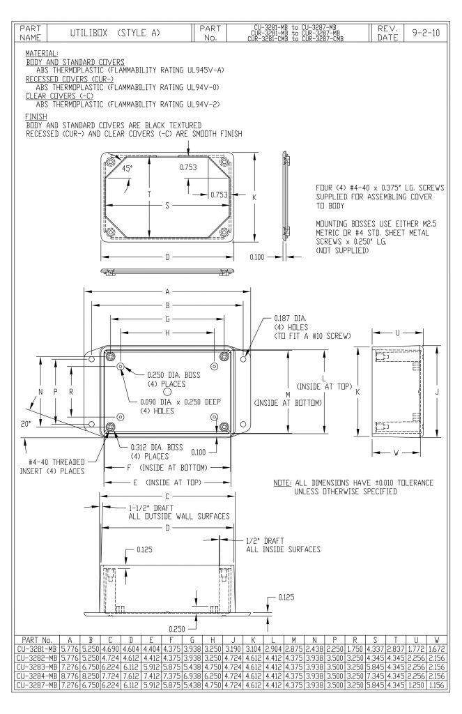 CUR-3287-MB Dimensions