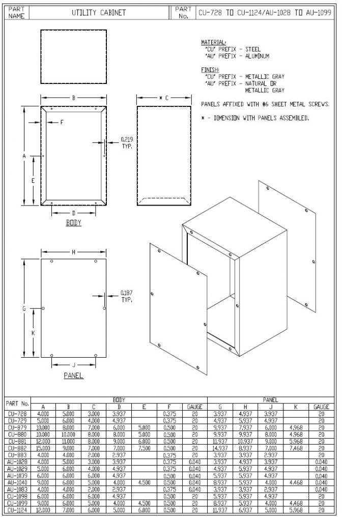 CU-882 Dimensions
