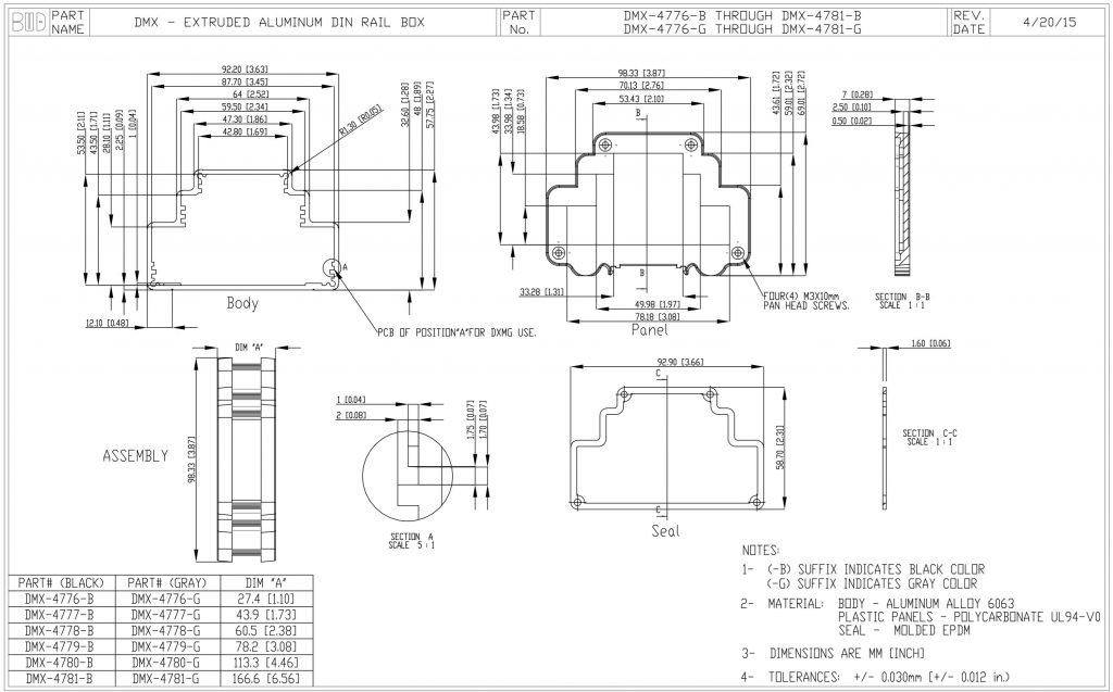 DMX-4777-G Dimensions