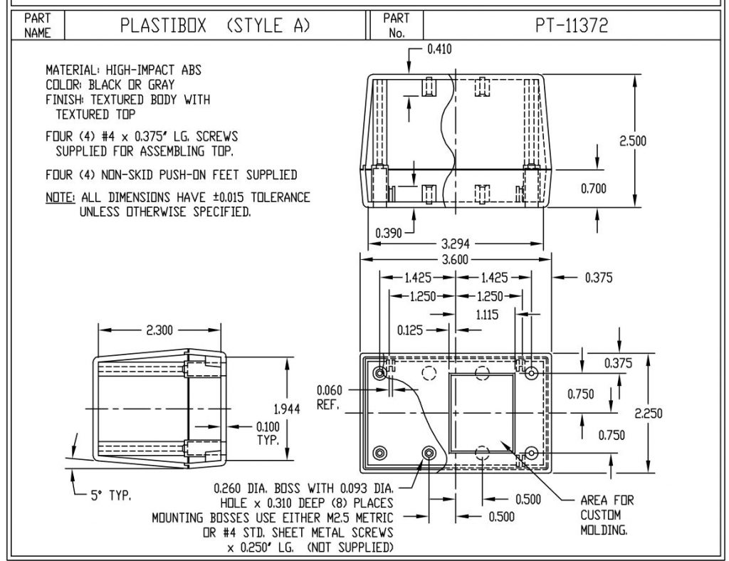 PT-11372-B Dimensions
