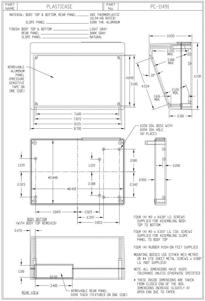 PC-11491 Dimensions