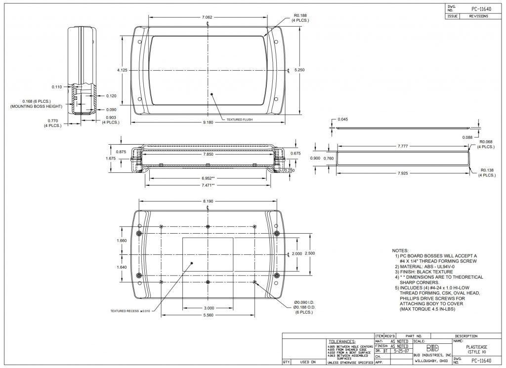 PC-11640 Dimensions