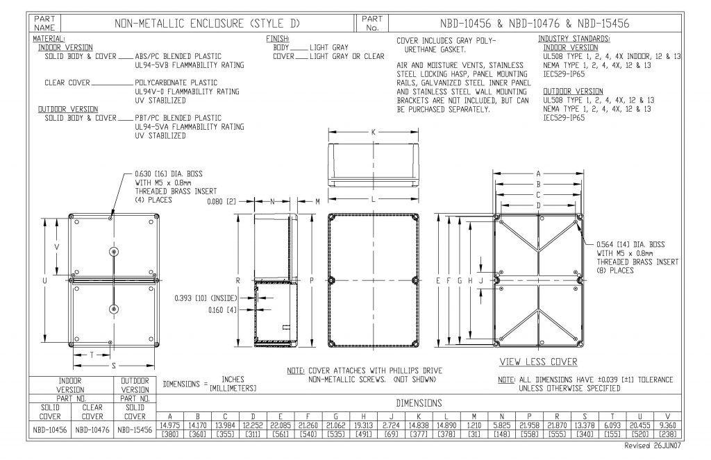 NBD-10456 Dimensions