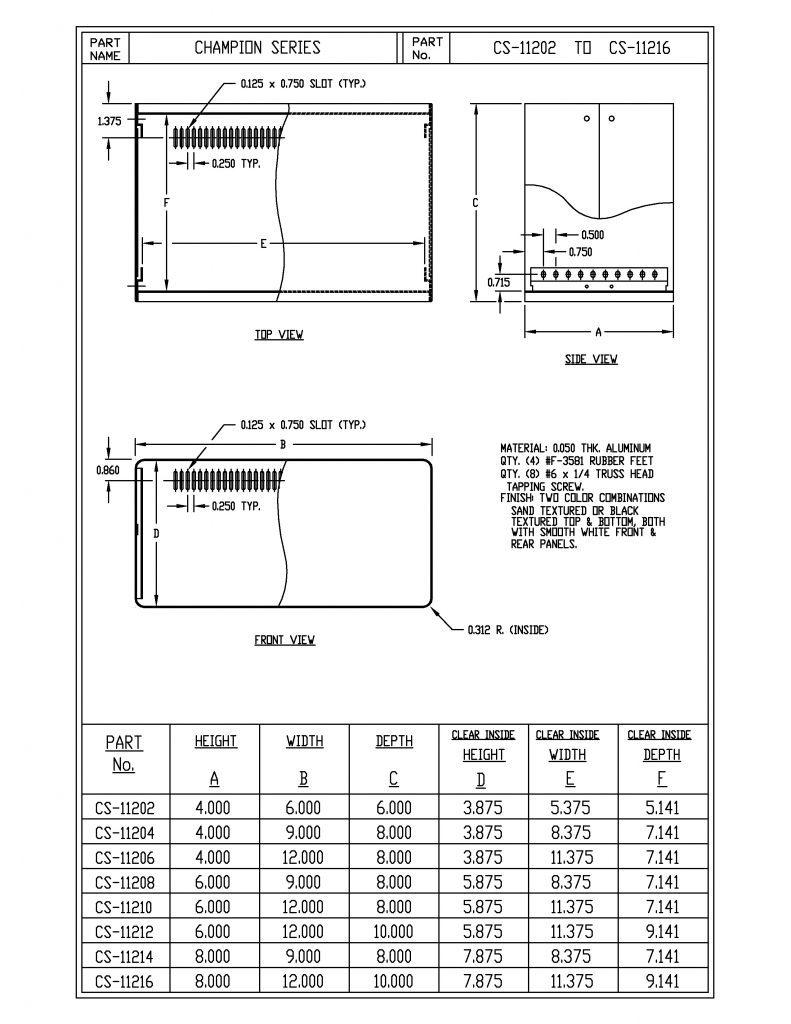 CS-11204-BT Dimensions