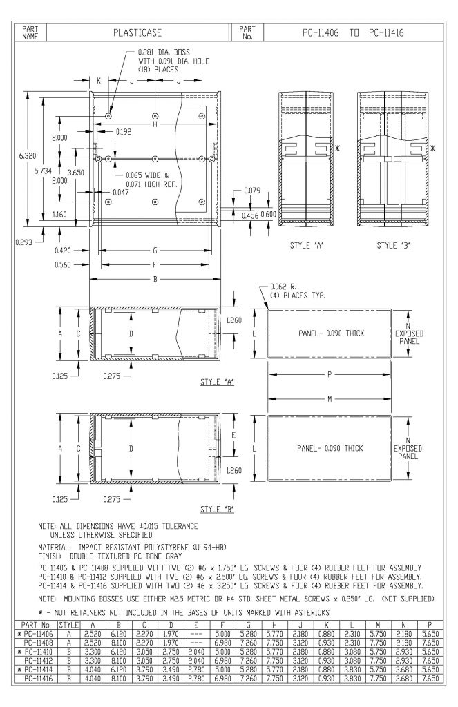 PC-11412 Dimensions