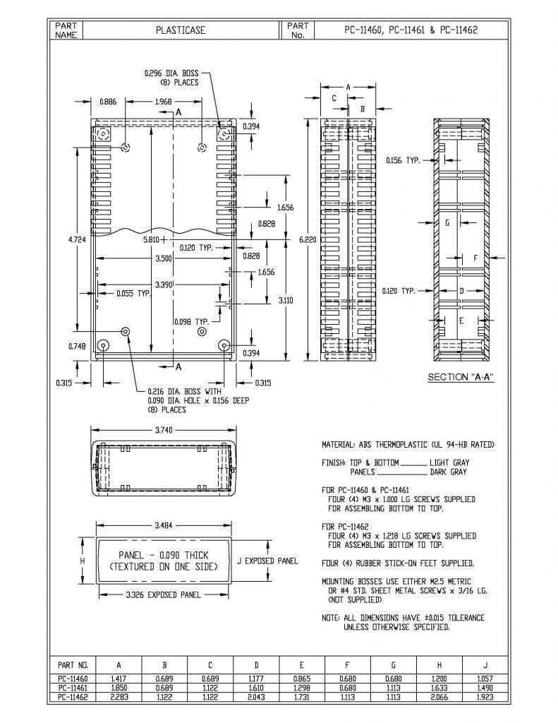 PC-11461 Dimensions