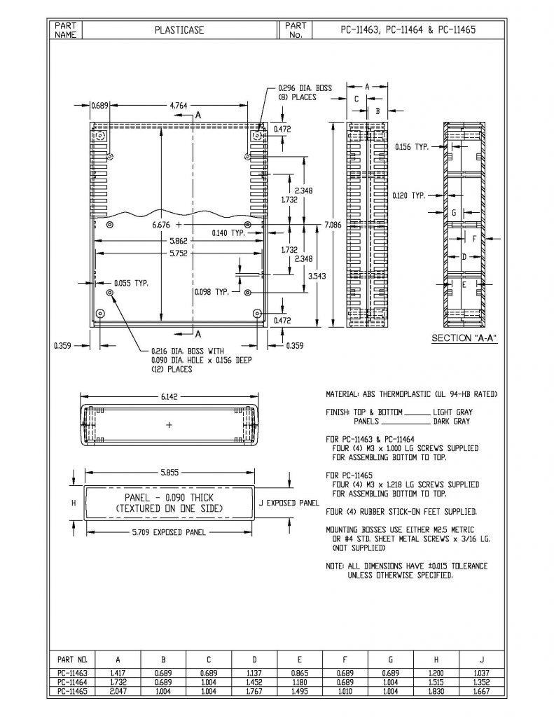 PC-11464 Dimensions