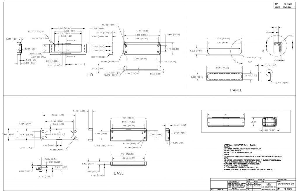 PC-11475 Dimensions