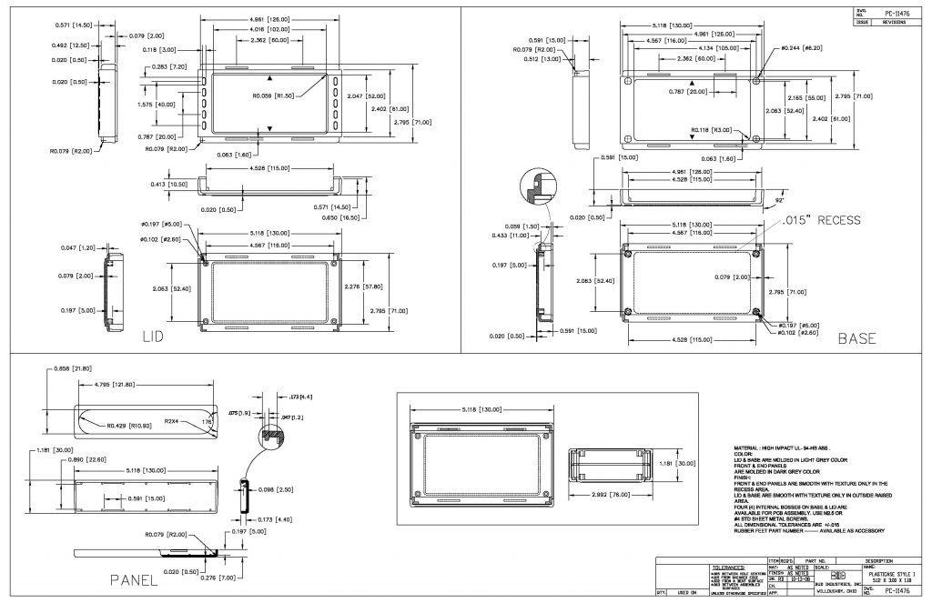 PC-11476 Dimensions
