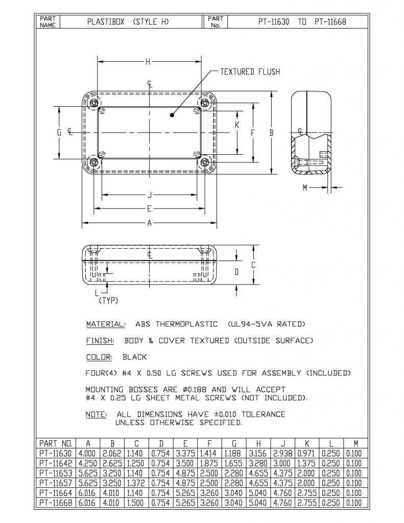PT-11664 Dimensions