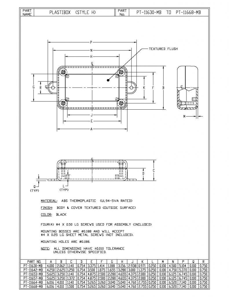 PT-11630-MB Dimensions