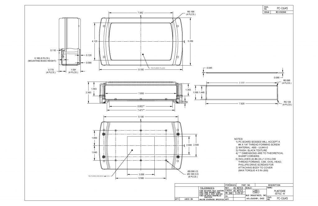 PC-11645 Dimensions