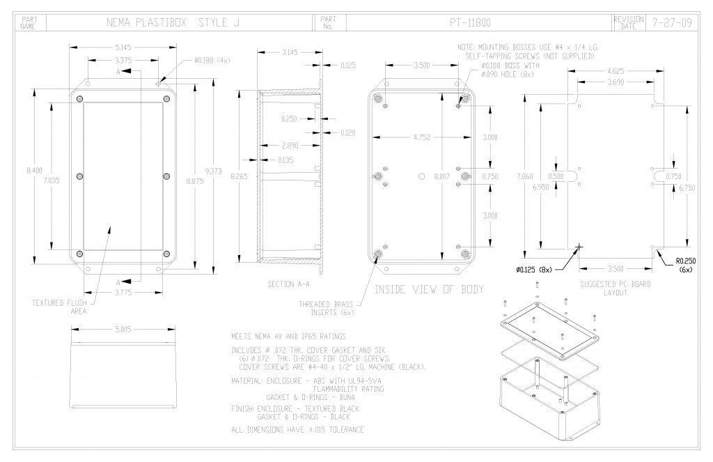 PT-11800 Dimensions