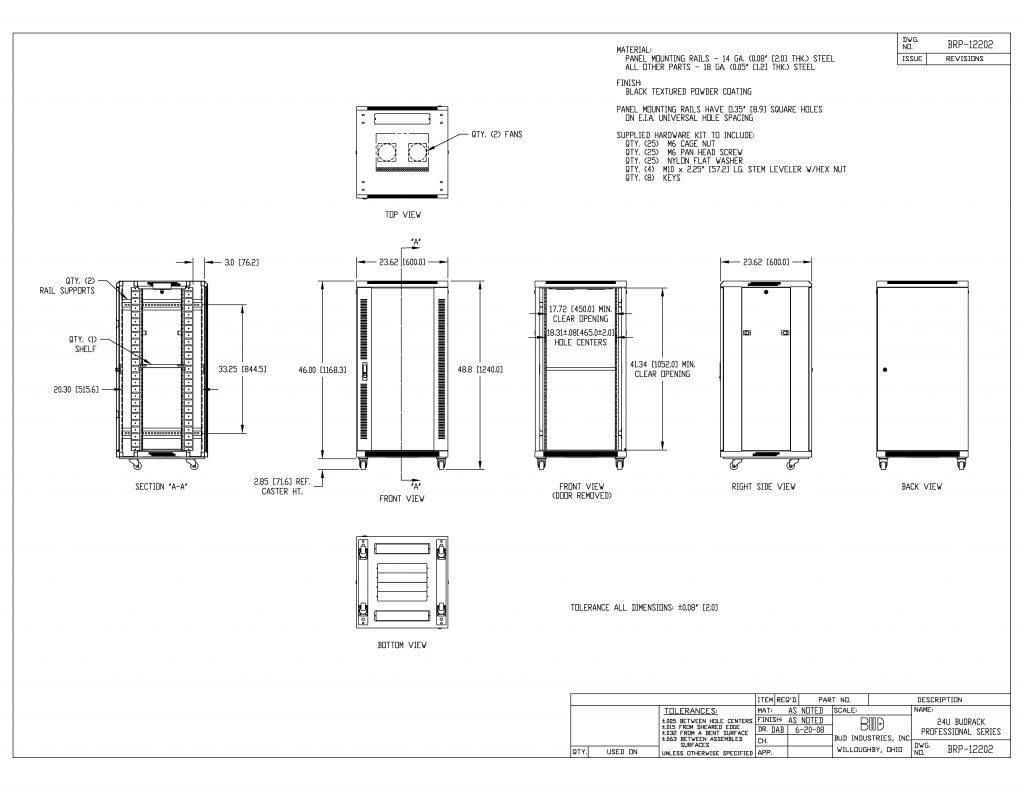 BRP-12202 Dimensions