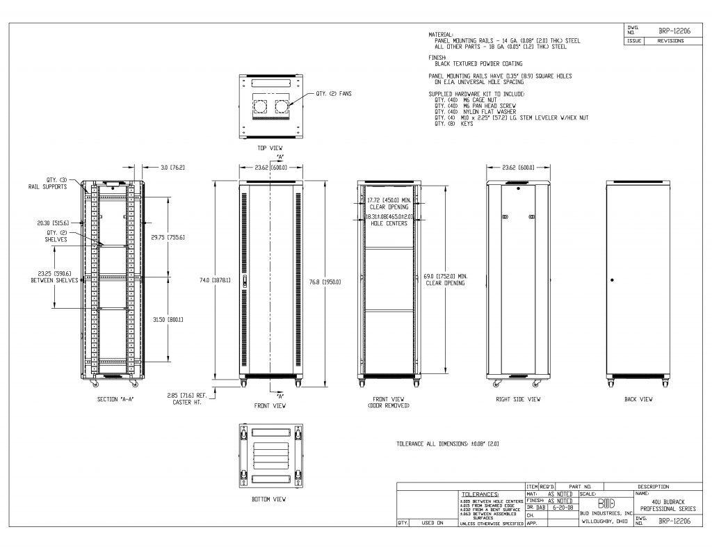 BRP-12206 Dimensions