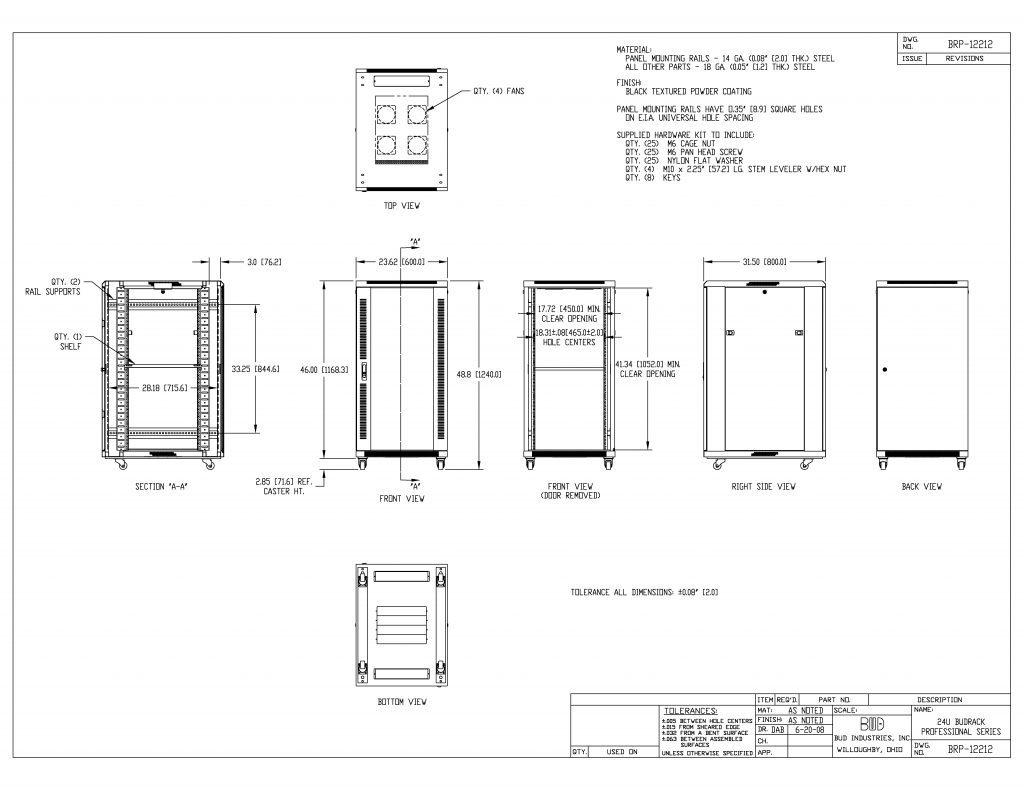 BRP-12212 Dimensions