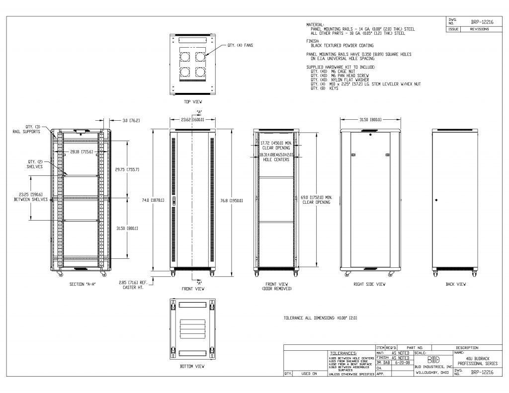 BRP-12216 Dimensions