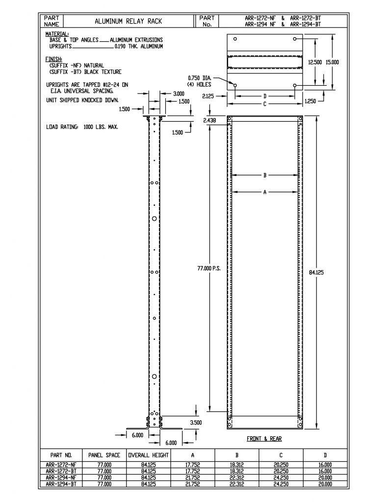 ARR-1272-B Dimensions