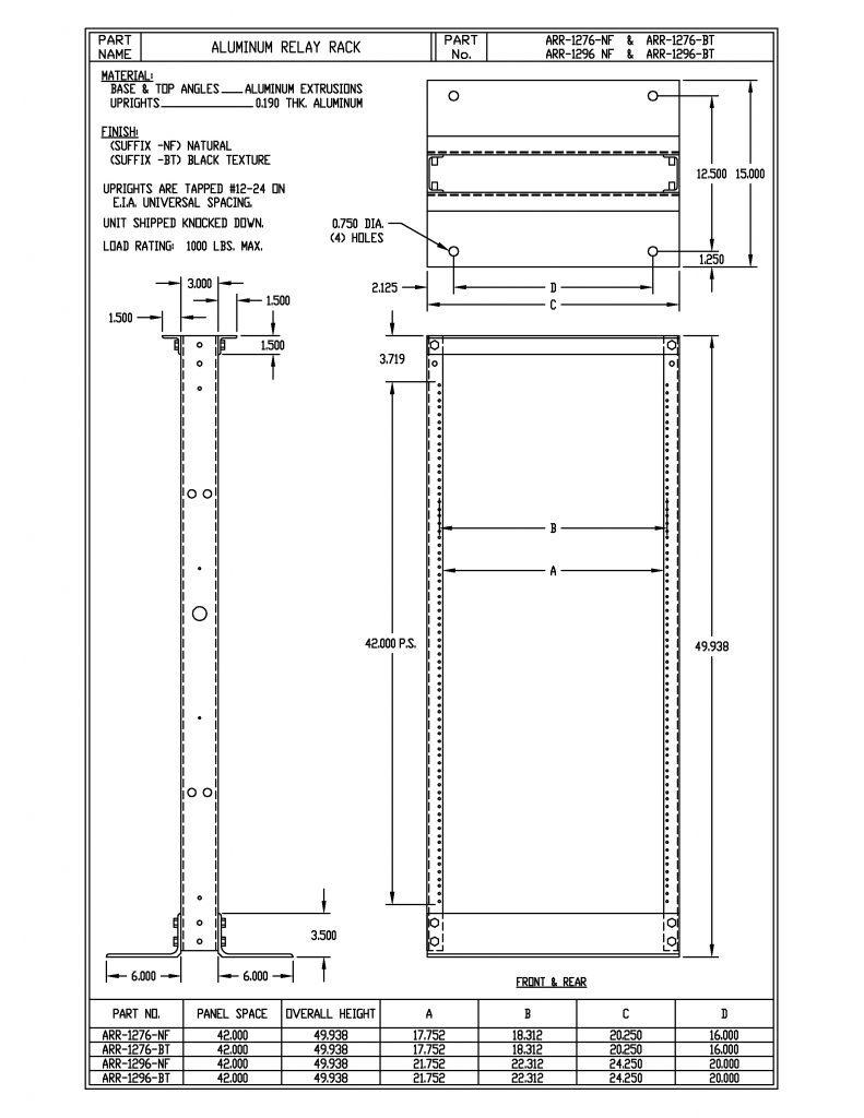 ARR-1276-B Dimensions