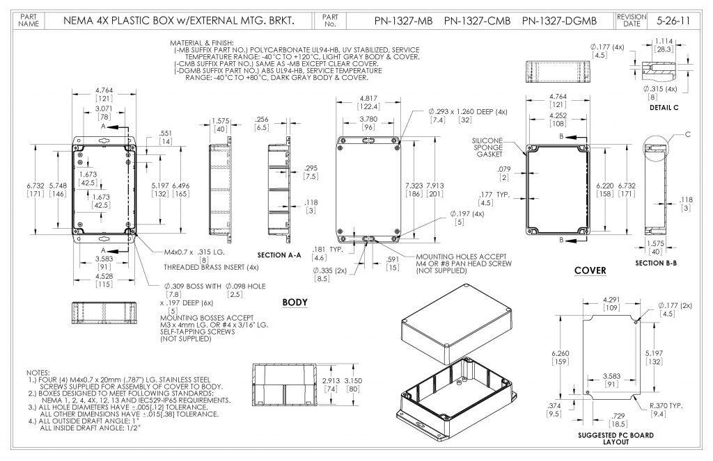 PN-1327-CMB Dimensions
