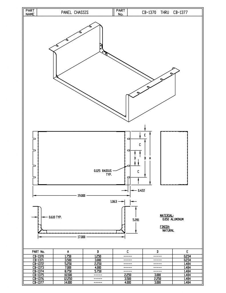 CB-1374 Dimensions