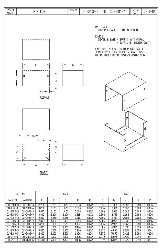CU-3000-A Dimensions