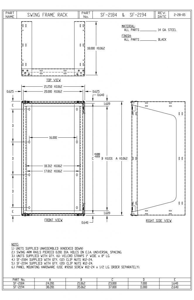 SF-2194 Dimensions