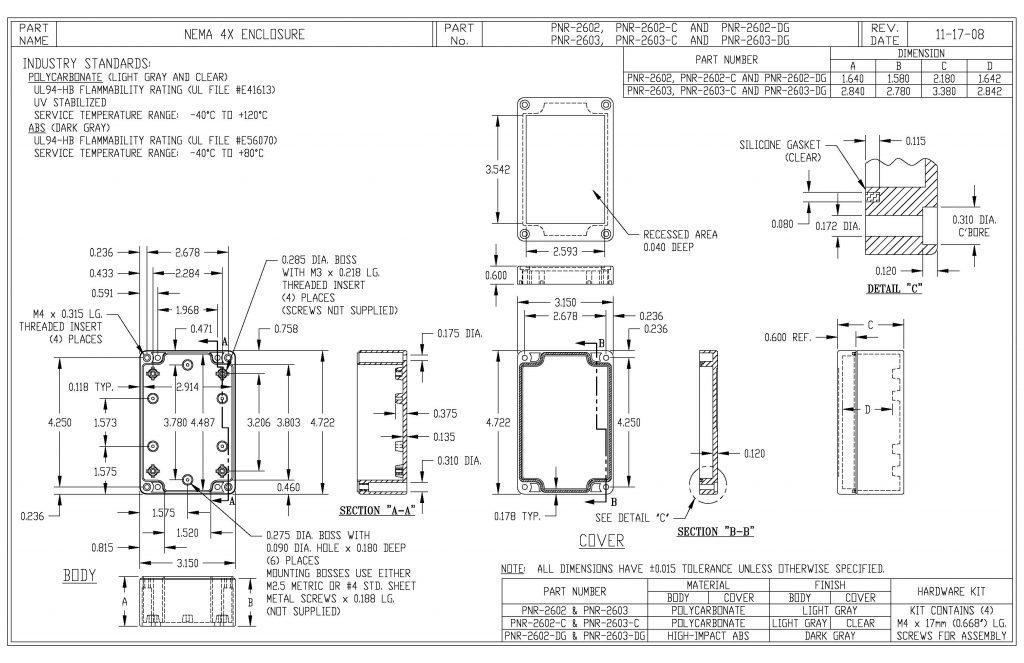 PNR-2602-C Dimensions