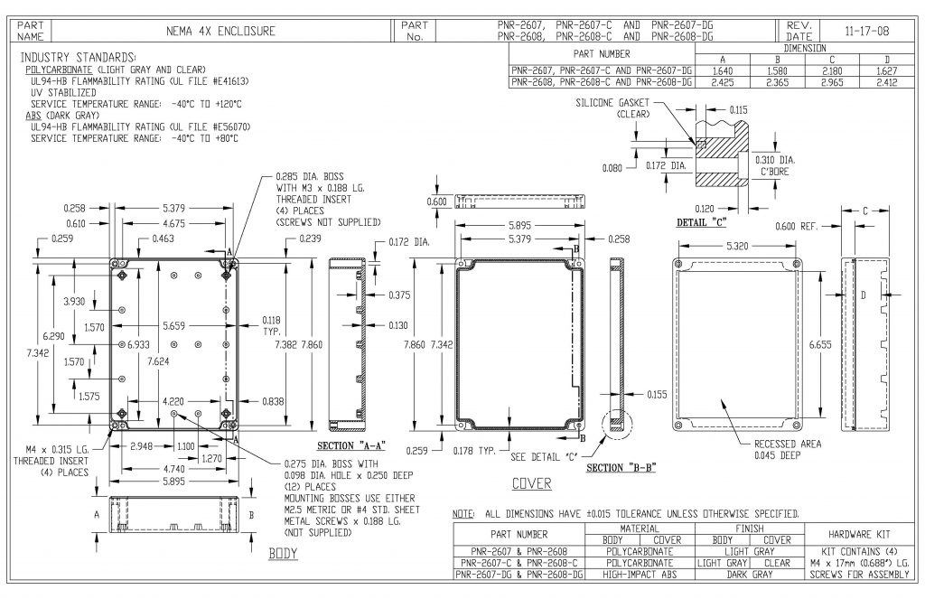 PNR-2608-C Dimensions