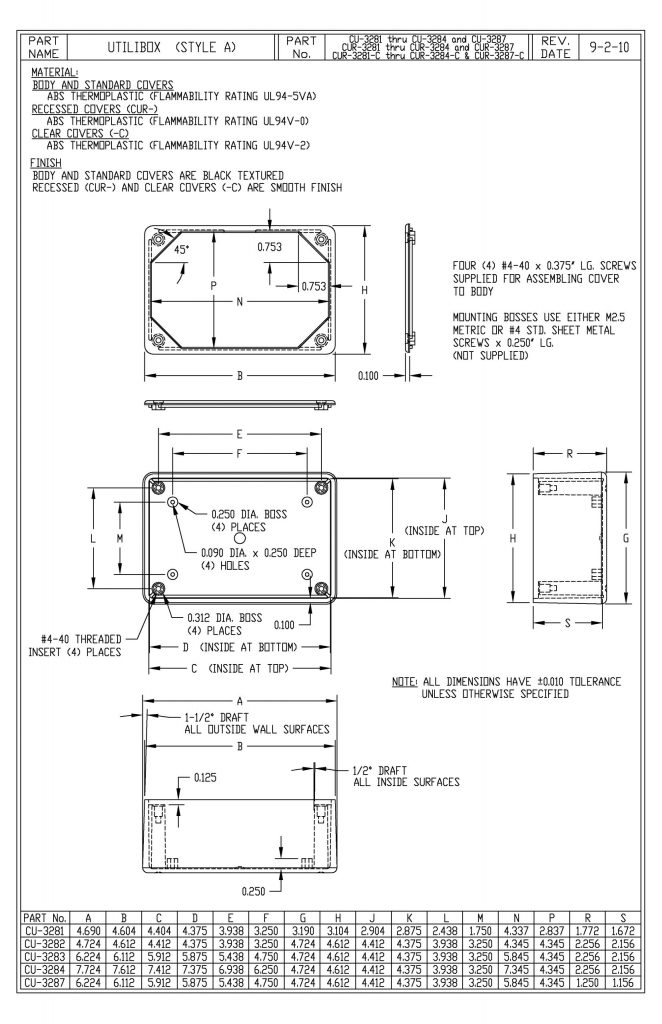 CUR-3284 Dimensions