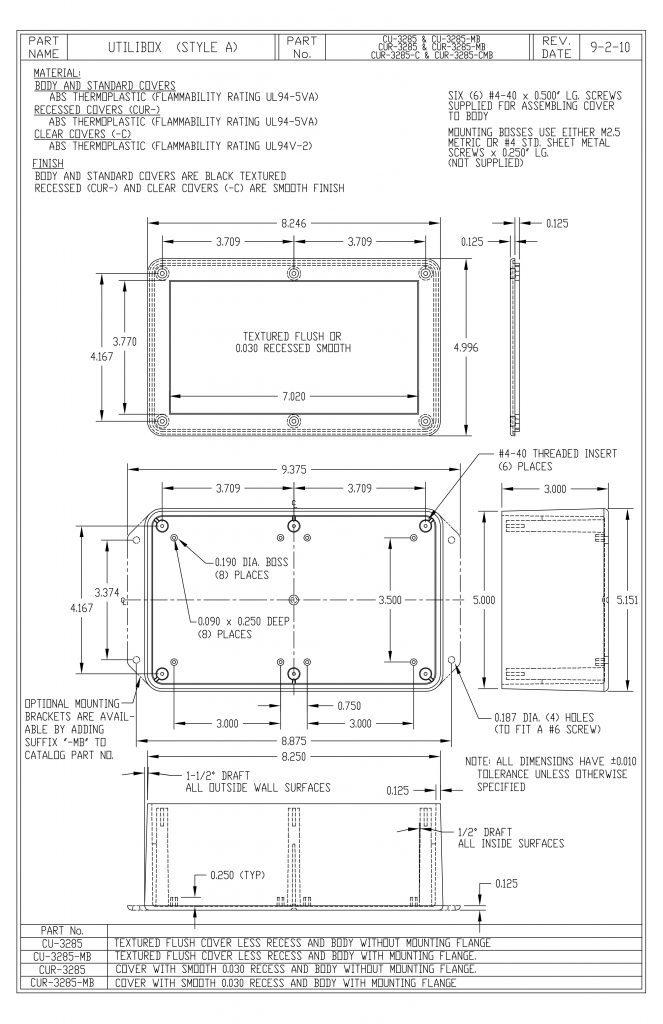 CUR-3285-MB Dimensions