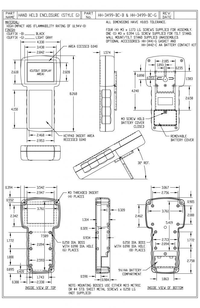 HH-3499-BCG Dimensions