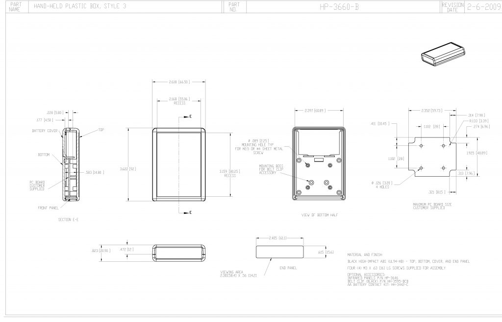 HP-3660-B Dimensions