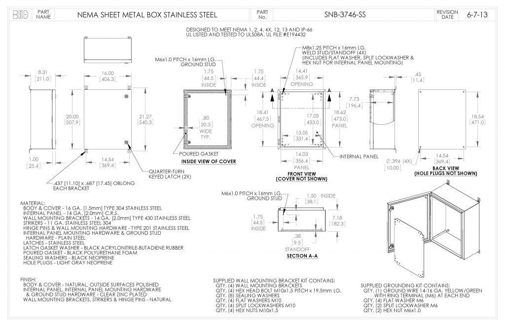 SNB-3746-SS Dimensions