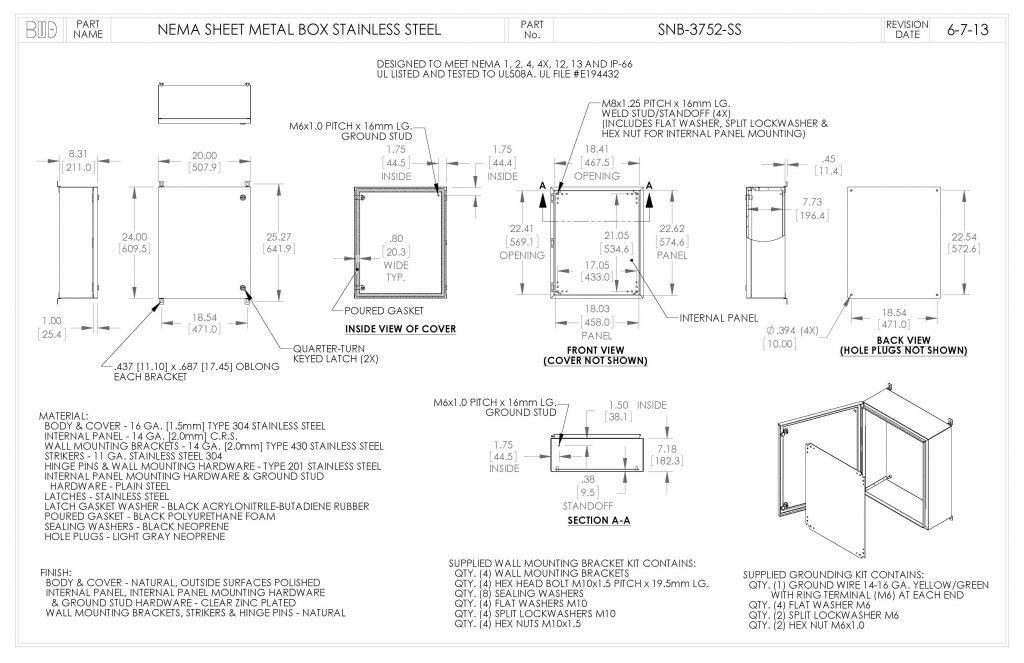 SNB-3752-SS Dimensions