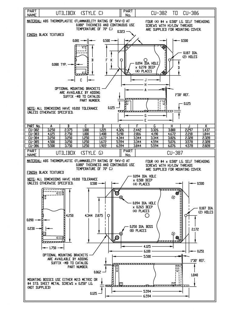 CU-387-MB Dimensions