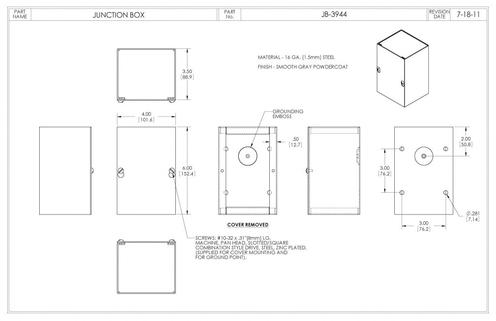 JB-3944 Dimensions