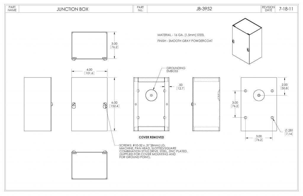 JB-3952 Dimensions