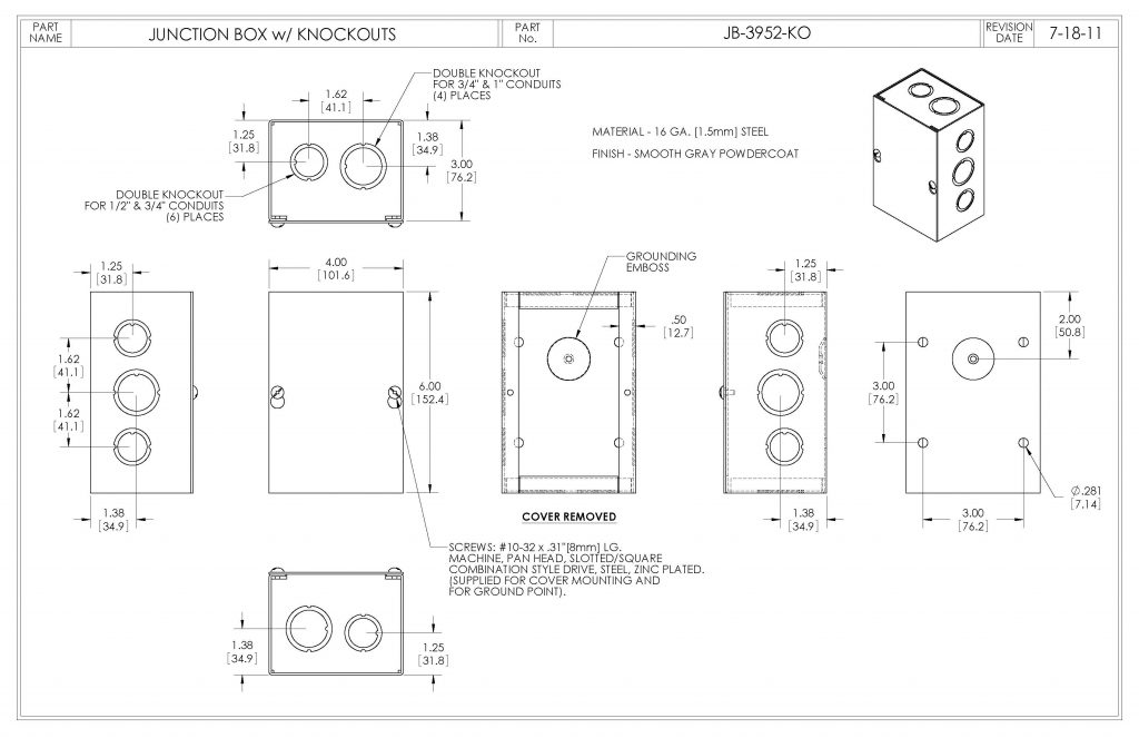 JB-3952-KO Dimensions