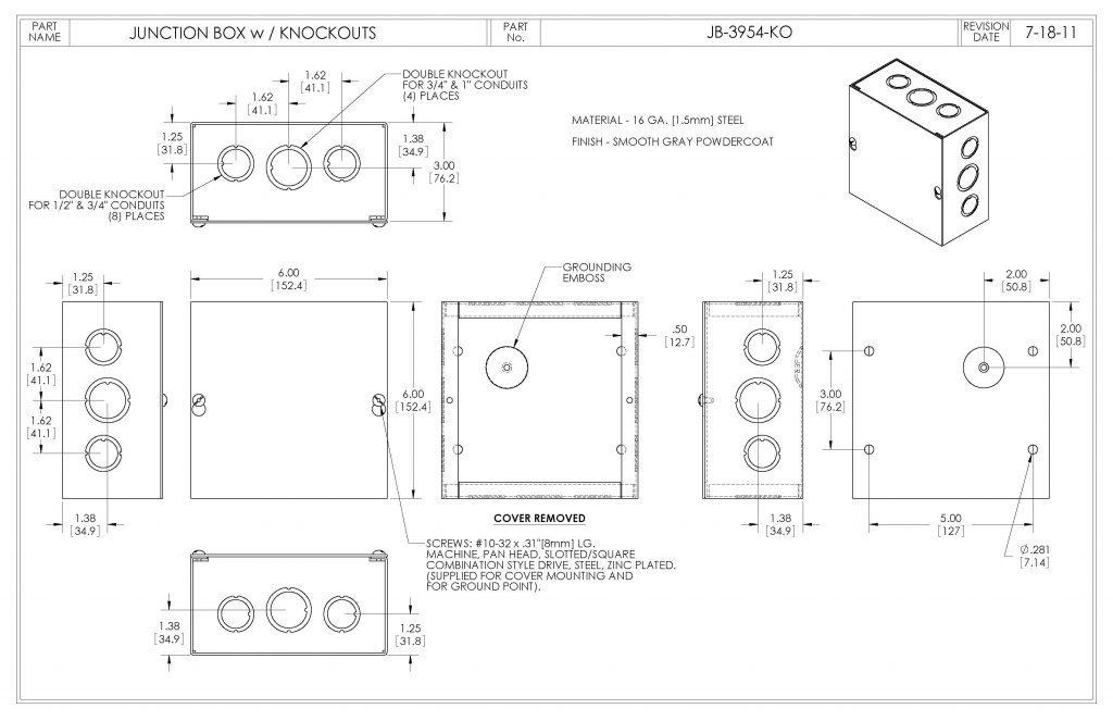 JB-3954-KO Dimensions
