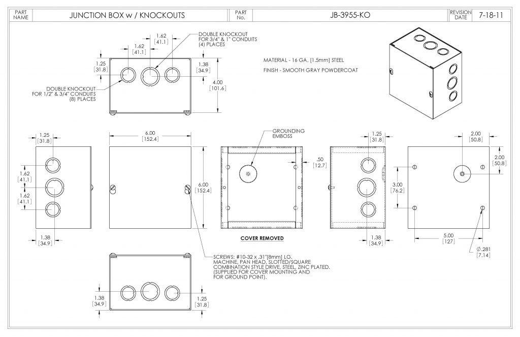 JB-3955-KO Dimensions