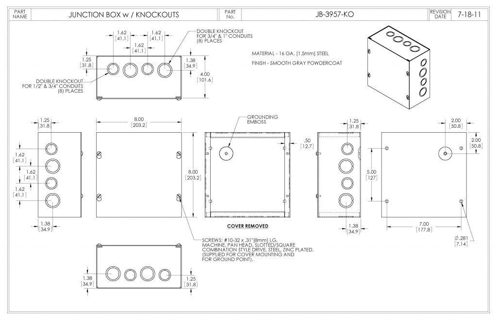 JB-3957-KO Dimensions