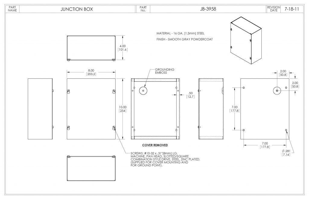 JB-3958 Dimensions