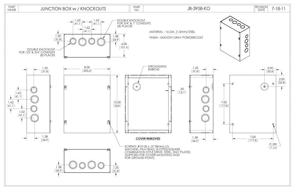 JB-3958-KO Dimensions