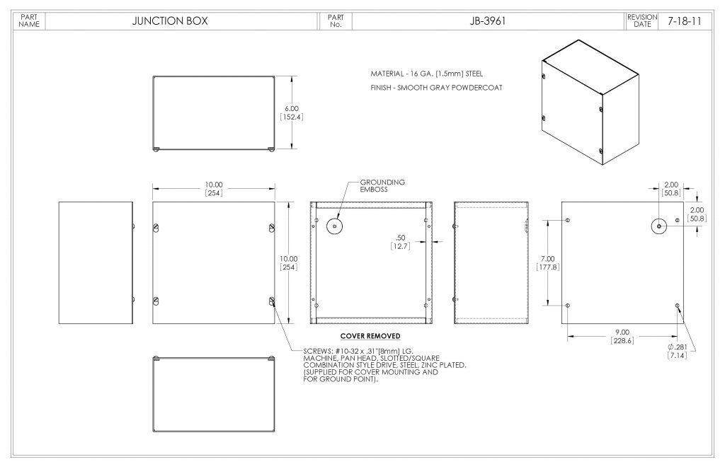JB-3961 Dimensions